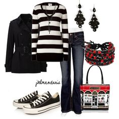"""Black & White with a Hint of Red"" by jklmnodavis on Polyvore"