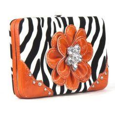 Handbags, Bling & More! Zebra Orange Flower Clutch Opera Wallet : Fashion Wallets