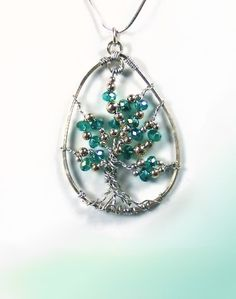 Tree Of Life Pendant  Necklace  Silver  Blue Green Crystal
