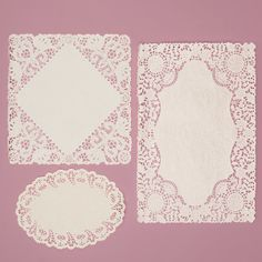 Paper Doilies.  Rectangular are perfect for placemats, square are great for envelopes, etc, oval would be great for silverware bundles.