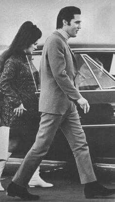 Pregnant Priscilla and Elvis on their way to the hospital.  February 1, 1968