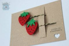 Pair of Strawberry Felt Hair slide £2.40