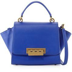 ZAC Zac Posen Eartha Leather Mini Crossbody Bag ($270) ❤ liked on Polyvore featuring bags, handbags, shoulder bags, cobalt, mini crossbody, blue leather purse, blue shoulder bag, leather cross body purse and blue leather handbag