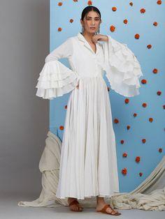 5e04b7e3a20 White Cotton Gathered Dress Designer Kurtis