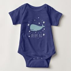 Whale Dream Big Illustration Baby Bodysuit - kids kid child gift idea diy personalize design