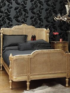 French Grey Painted Rattan Bed King