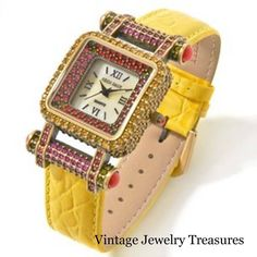 """Heidi Daus """"Timeless Beauty"""" Crystal Yellow Leather Strap Watch New HSN"""