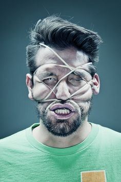 "After ""Scotch Tape Portraits"", photographer Wes Naman has created this twisted new series entitled ""Rubber Band Portraits"". Distortion Photography, A Level Photography, Figure Photography, Portrait Photography, Creative Photography, Wes Naman, Face Distortion, A Level Art, Abstract Portrait"