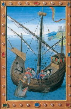 Diurnal de René II de Lorraine Jonas mangé par la baleine Nancy, 1492-1493. Parchemin BNF, Manuscrits, latin 10491 f. 166v
