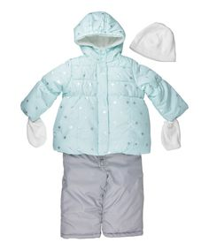 d48c23285a5f Carter s Blue Snowflakes Puffer Coat Set - Infant