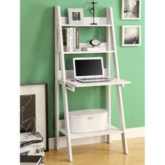 Monarch 61 in. Ladder Bookcase with Drop Down Desk - White