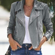 US Fashion Women Long Sleeve Sweater Top Casual Cardigan Outwear Coat Jacket – Jackets Grey Suede Jacket, Leather Jacket Outfits, Bomber Jacket Outfit, Biker Jacket Outfit Women, Gray Jacket, Moda Rock, Mantel Outfit, Mantel Trenchcoat, Mode Mantel