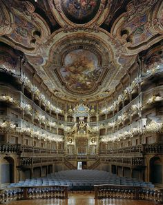 Amazing baroque architecture inside Margravial Opera House in Bayreuth, Germany (by VitalySky). Saw opera Loeingrin at this opera house. Sat in Hitler's box seats. Baroque Architecture, Beautiful Architecture, Beautiful Buildings, Theatre Architecture, Beautiful World, Beautiful Places, Concert Hall, The Places Youll Go, Opera House