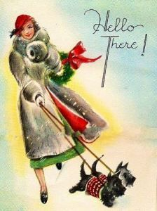 christmas images Christmas Scotties walk their mistress - vintage Christmas card Vintage Christmas Images, Retro Christmas, Vintage Holiday, Christmas Pictures, Vintage Greeting Cards, Christmas Greeting Cards, Christmas Greetings, Vintage Postcards, Christmas Postcards