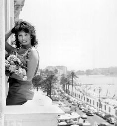 Italian actress Sophia Loren on the balcony of room 431 at the Carlton Hotel above the croisette in Cannes where she is staying during the International Cannes Film Festival, May She is. Get premium, high resolution news photos at Getty Images Sophia Loren, Isabelle Huppert, Marlene Dietrich, Brigitte Bardot, La Croisette, Greta, Palais Des Festivals, Italian Beauty, Italian Style