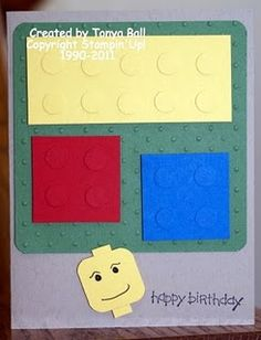 Lego-themed birthday card. #stampinup