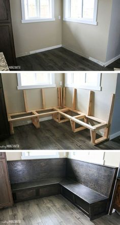 you've always dreamed of having booth seating or a corner storage bench in your breakfast nook, you're in luck. You're going to love this detailed tutorial for how to build a banquette bench in your kitchen! Booth Seating In Kitchen, Banquette Seating In Kitchen, Kitchen Booths, Banquette Bench, Kitchen Benches, Dining Nook, Corner Bench Kitchen Table, Bar Kitchen, Dining Bench With Back