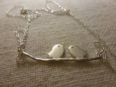 Sterling Silver Necklace with Dainty Love Birds by CurranStudios, $19.00