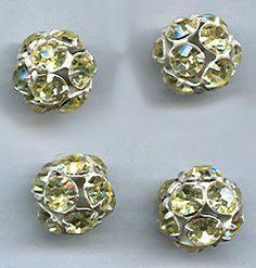 vintage swarovski crystal jonquil rhinestone bead balls white enamel 15mm TWO yellow vintage rhinestone beads large rhinestone beads by beadtopiavintage on Etsy