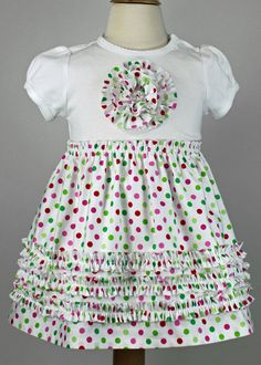 Christmas Ruffled Rosette T-shirt dress,  PDF sewing pattern,  quick easy ruffles, girls, toddlers, 6mos-5T