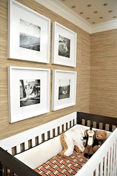 Grasscloth walls w/gallery style prints