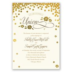 typography + gold wedding invitation with confetti? yes please!