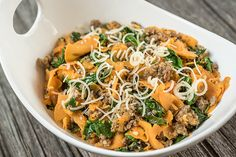 The combination of spiralized sweet potatoes, sausage, and spinach is wonderfully seasonal during the fall months but can be enjoyed year-round.