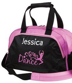 Personalised Name Ballet Shoes Junior Dance Bag Dance Girls Black White Pink