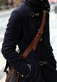 gorgeous detailing on the coat and wonderful leather detailing on the satchel #winter #mens