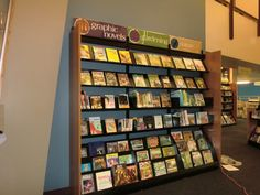 This is the new shelving for feature books in our lobby.