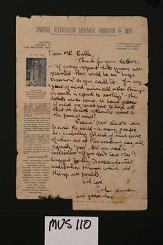 """Hand-written letter by John Lennon sent to an Indian Fan, [n.d. but between February 16th and April 12, 1968] during Lennon's sojourn in Rishikesh for instruction in meditation by the Maharishi Mahesh Yogi. On Spiritual Regeneration Movement Foundation of India illustrated and headed airmail paper. Shankaracharya Nagar, P.O. Swargashram, Rishikesh, U.P. India. Lennon responds to the fan's request for money by telling him, """"If every request like yours was granted -......"""