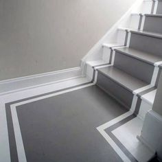 Cool Painted Stairs Design Ideas Grey And White Painted Staircases, Painted Stairs, Wooden Stairs, Spiral Staircases, Redo Stairs, House Stairs, Carpet Stairs, Basement Stairs, Home Design
