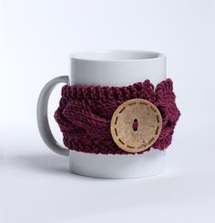 Knitted mug cozy tea cup cozy  coffee sleeve magenta by shumshu