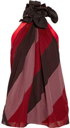 Marc Jacobs Flower-embellished striped silk top