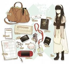 stuff by remocholy What In My Bag, What's In Your Bag, Inside My Bag, Shokugeki No Soma Anime, Drawing Bag, Akira, Bag Illustration, Cartoon Fan, Old Anime