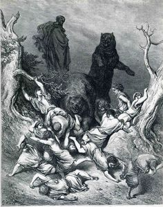 The Children Destroyed by Bears - Gustave Dore  Completion Date: 1866 Style: Romanticism Series: The Holy Bible Genre: religious painting Technique: engraving Tags: animals, Christianity, children, bears