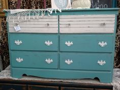 $125 - This is a 6 drawer chest painted Tiffany blue and white, glass knobs on the top two drawers. **** In Booth C1 at Main Street Antique Mall 7260 E Main St (east of Power RD on MAIN STREET) Mesa Az 85207 **** Open 7 days a week 10:00AM-5:30PM **** Call for more information 480 924 1122 **** We Accept cash, debit, VISA, Mastercard, Discover or American