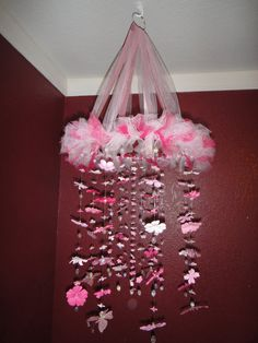 Diy tutu tulle baby mobile and kids chandelier crafts and diy pink white silk flower butterfly mobile i love this so pretty aloadofball Choice Image