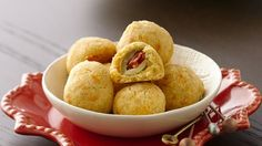 Olive Cheese Ball - These tasty four-ingredient morsels continue to be a party favorite! One Bite Appetizers, Best Holiday Appetizers, Yummy Appetizers, Appetizers For Party, Appetizer Recipes, Snack Recipes, Cooking Recipes, Cheese Appetizers, Party Recipes