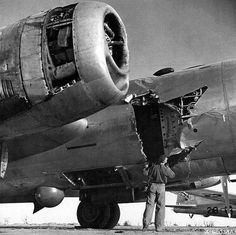 B-29's prop flew into fuselage after the bomber was damage during Yokohama raid; landed safely at Iwo Jima