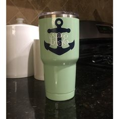 Powder Coated Yeti Rambler With Anchor and Monogram Decal ($83) ❤ liked on Polyvore featuring dark olive and home & living
