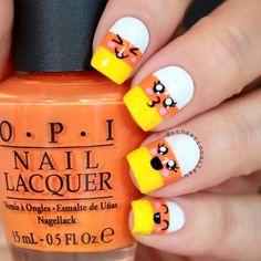 Halloween Acrylic Nails, Cute Halloween Nails, Halloween Nail Designs, Cute Nail Designs, Spooky Halloween, Halloween Vinyl, Halloween Makeup, Happy Halloween, Candy Corn Nails