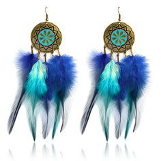 Dream Catcher Peacock Earrings  Price: 17.00 & FREE Shipping  #dreamcatchershairextensions  #nativeamericanchurch#bohohome  #gypsygirl  #spiritualwarrior  #meditationforkids