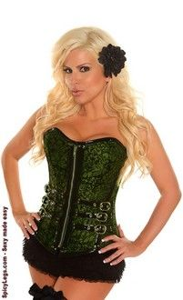 548e995853 Women s Emerald Buckled Brocade Steel Boned Corset Pvc Trim