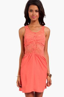 50/50 Lace Dress in Coral
