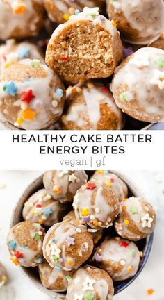 No-Bake Healthy Cake Batter Energy Bites These Cake Batter Energy Bites are vegan gluten-free and made without refined sugar. Theyre easy to make and are a healthy no-bake sweet treat everyone will love! Great snack for kids too! Source by simplyquinoa Healthy Sweet Treats, Healthy Cake, Vegan Cake, Healthy Baking, Healthy Desserts, Healthy Food, Healthy Meals, Vegan Snacks, Easy Snacks
