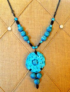 Hand covered fabric beads and custom crocheted  flower Necklace  on Etsy, $38.00
