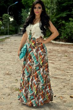 Look do dia: Saia longa estampada + cropped top skirt long