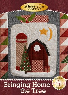 """There's nothing quite as exciting as the tradition of bringing home the Christmas tree each year! Bringing Home The Tree perfectly captures the familiar feelings of the holidays with the candy canes, vintage trucks, holiday wreaths, a quaint farmhouse, and so much more! Designed by Stacy West for Buttermilk Basin and recolored by Shabby Fabrics. Finishes to 43"""" x 51"""". Your kit will include the following:  Pre-fused and Laser-Cut Applique pieces. No need to trace and cut! Patter..."""