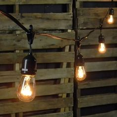Commercial Edison Drop String Lights, 48 Foot Black Wire, Clear #OhMyUsWed
